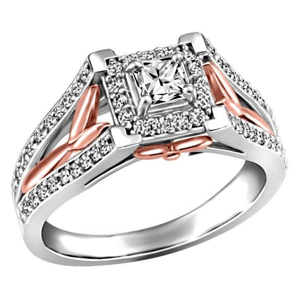 White And Rose Gold Fire of the North Canadian Diamond Engagement Ring