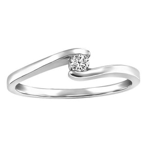 White Gold Fire of the North Diamond Solitaire Ring