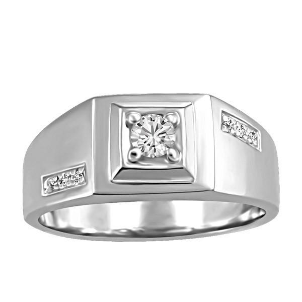 Mens White Gold Fire of the North Diamond Ring