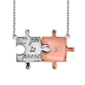 Silver & Rose Tone Puzzle Piece Necklace
