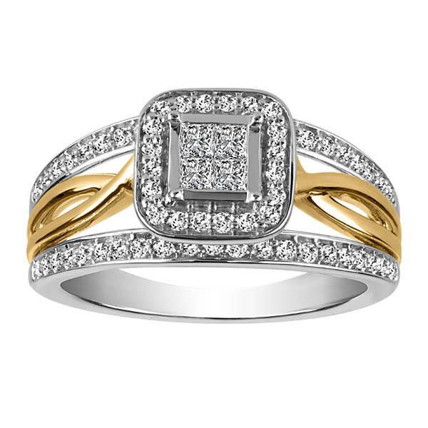 Two Tone Gold Diamond Engagement Ring