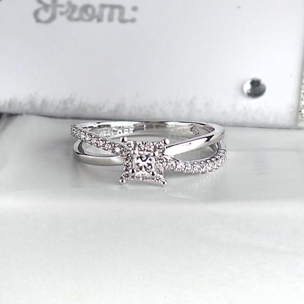 White Gold Princess Cut Fire of the North Engagement Ring