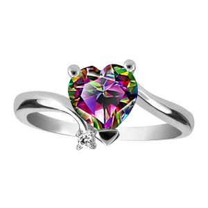 White Gold Diamond And Mystic Topaz Ring