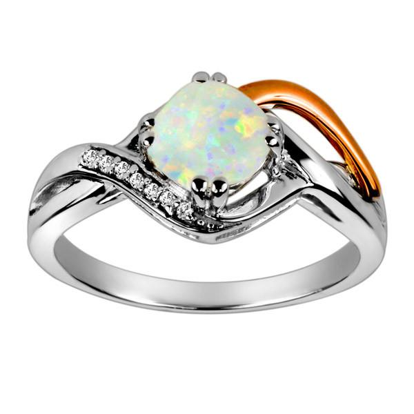 White and Rose Gold Diamond and Opal Ring