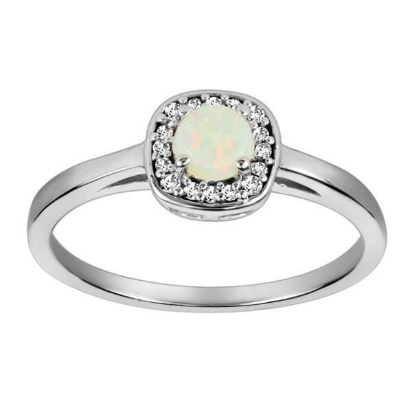 White Gold Diamond and Opal Ring