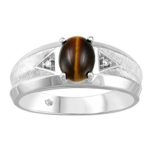 10KT White Gold Mens Diamond Tiger Eye Ring