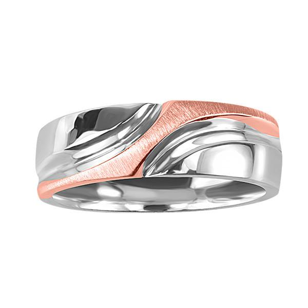 Silver and Rose Gold Mens Wedding Ring