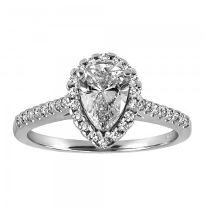 Fire of the North Halo Engagement Ring with .91 Carat TW of Diamonds in 18kt White Gold