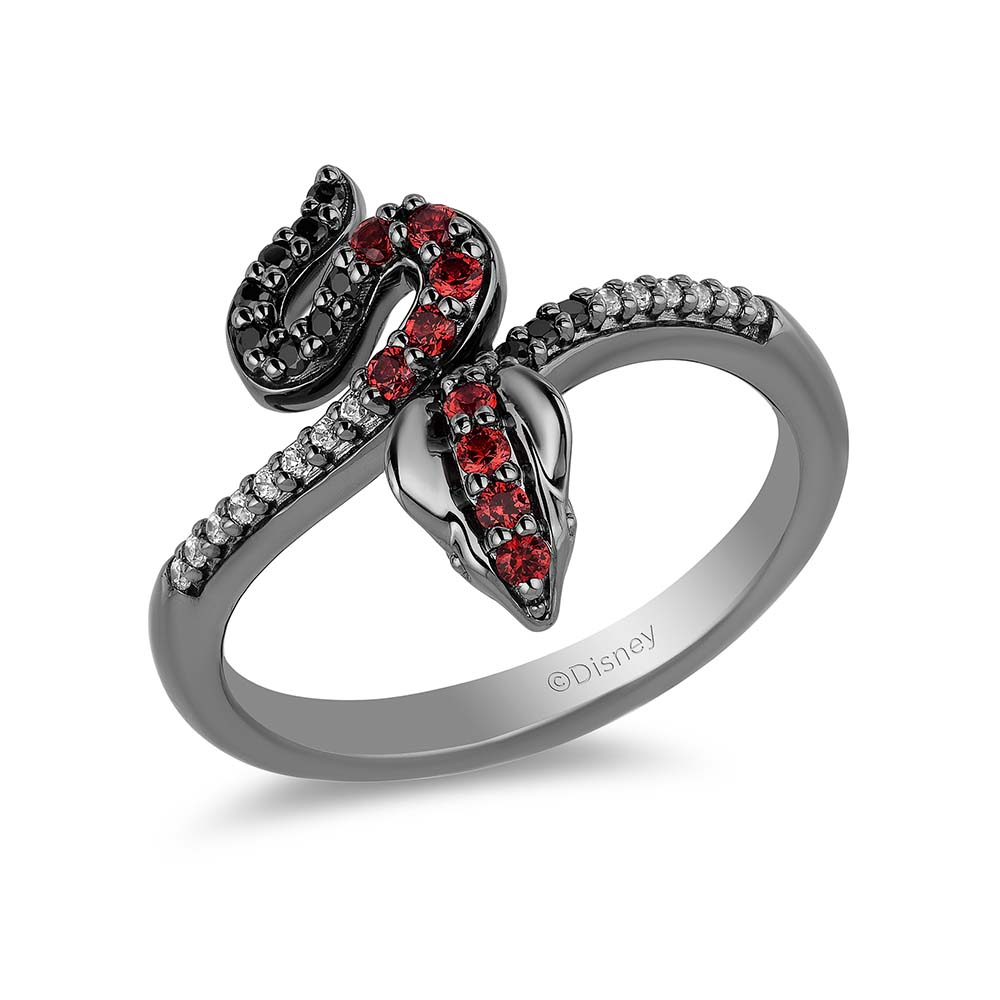 Enchanted  Villains Jafar 16 CT T.W Diamond Snake Bypass with CZ Ring in 925 Sterling Silver with Black Rhodium-Gift to Her-Zodiac Ring