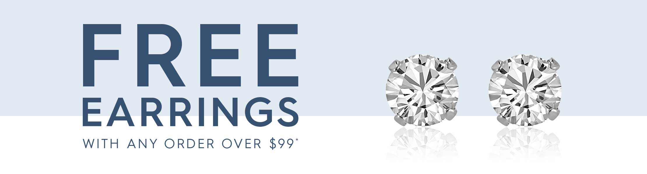 Free earrings with any order over $99
