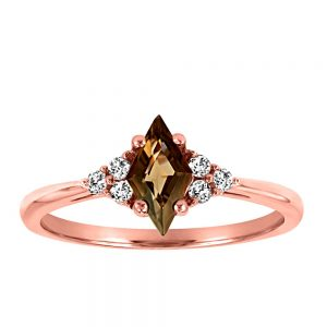 Ring with .09 Carat TW of Diamonds and Smokey Quartz in 10kt Rose Gold