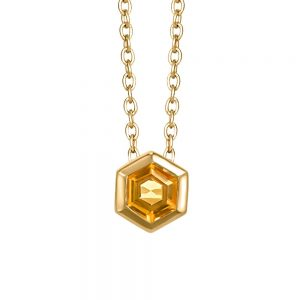 Resilience Hope Pendant with Citrine in Gold Plated Sterling Silver with Chain