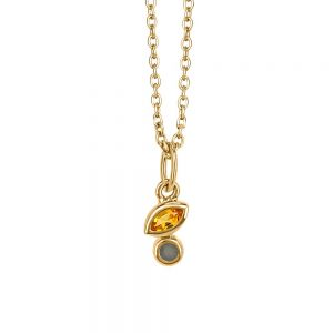 Resilience Mini Duo Pendant with Citrine and Grey Moonstone in Gold Plated Sterling Silver with Chain