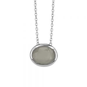 Resilience Courage Pendant with Grey Moonstone in Sterling Silver with Chain