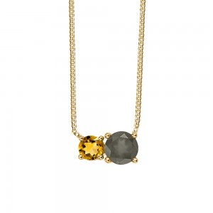 Resilience Duo Necklace with Citrine and Grey Moonstone in 10kt Yellow Gold