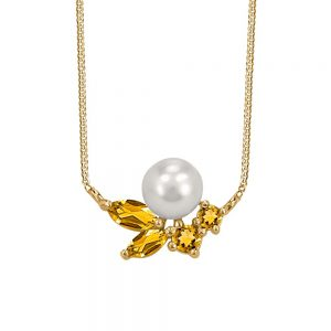 Resilience Faith Necklace with Pearl and Citrine in 10kt Yellow Gold