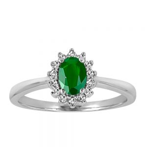 Ring with .18 Carat TW of Diamonds and Emerald in 10kt White Gold