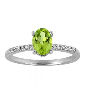 Ring with .07 Carat TW of Diamonds and Peridot in 10kt White Gold