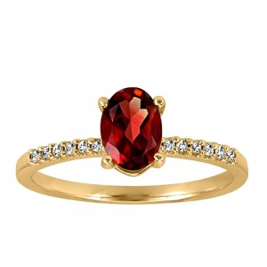 Ring with .07 Carat TW of Diamonds and Garnet in 10kt White Gold