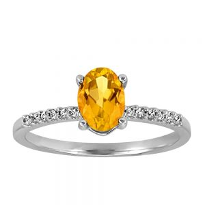Ring with .07 Carat TW of Diamonds and Citrine in 10kt White Gold
