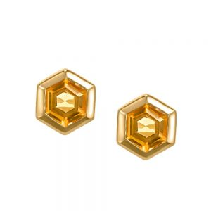 Resilience Hope Earrings with Citrine in Gold Plated Sterling Silver