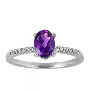 Ring with .07 Carat TW of Diamonds and Amethyst in 10kt White Gold