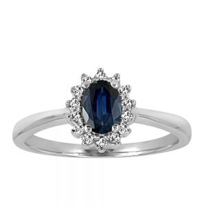 Ring with .18 Carat TW of Diamonds and Blue Sapphire in 10kt White Gold
