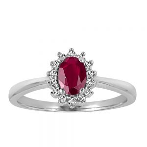 Ring with .18 Carat TW of Diamonds and Ruby in 10kt White Gold