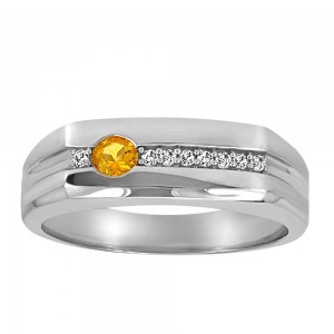 Resilience Fortitude Ring with .08 Carat TW of Diamonds and Citrine in Sterling Silver