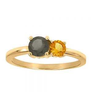 Resilience Duo Ring with Citrine and Grey Moonstone in 10kt Yellow Gold