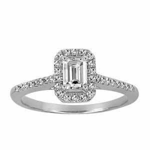 Halo Engagement Ring with .75 Carat TW of Diamonds in 14kt White Gold