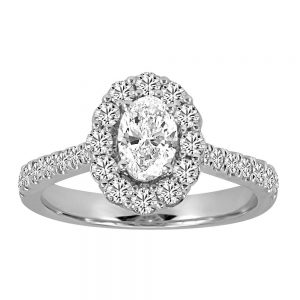 Halo Engagement Ring with 1.25 Carat TW of Diamonds in 14kt White Gold