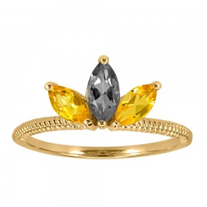 Resilience Faith Ring with Citrine and Grey Moonstone in 10kt Yellow Gold